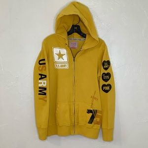 PINK VS US Army yellow zip up hoodie size Medium